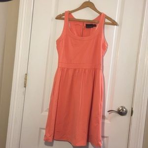 Coral Fit and Flare Dress with Pockets!